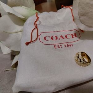 Coach Miranda Coral Signature 'C' Ring, size 6 3/4